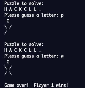 "screenshot of hangman game with the word ""hackclub"""